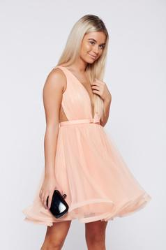 Ana Radu cloche net occasional peach dress
