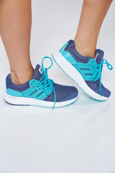 Blue Adidas casual light sole sneakers with vertical stripes