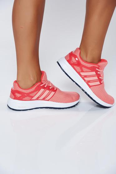 Adidas orange casual low heel sneakers with vertical stripes