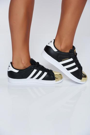 Originals Adidas black natural leather casual sneakers with metalic accessory