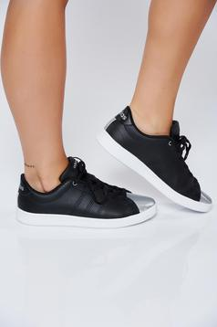 Adidas black natural leather casual sneakers with metallic aspect