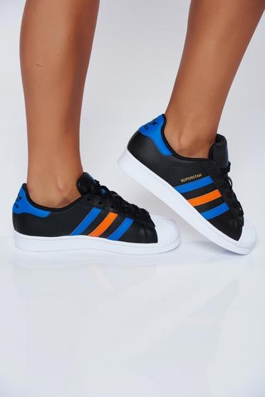 Originals Adidas casual black natural leather sneakers with lace