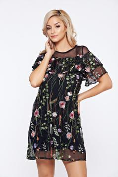 Top Secret black daily tulle dress with floral print