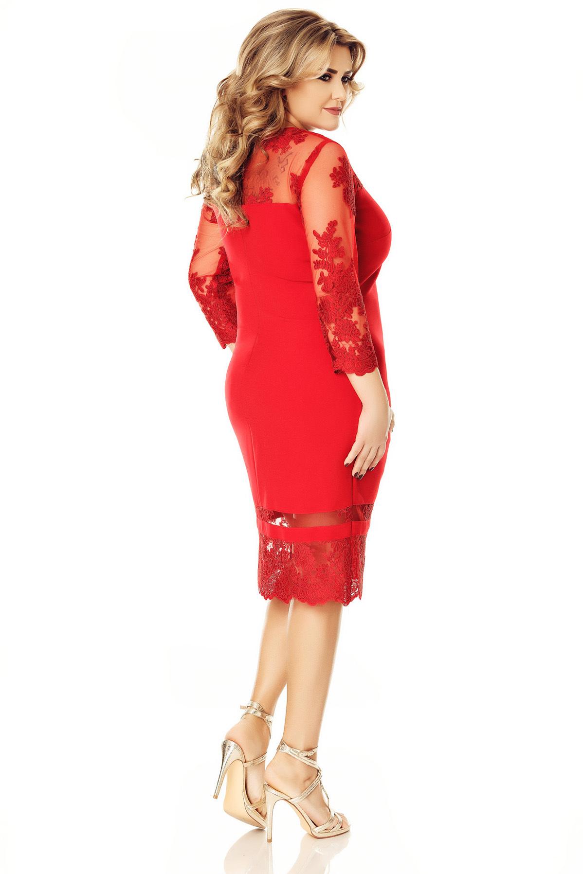 Rochie rosie de ocazie cu maneci din voal cu insertii de broderie