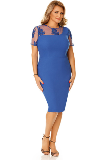 Blue occasional pencil dress with embroidery details