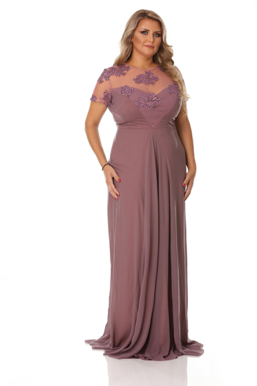 Purple occasional voile fabric dress embroidery details