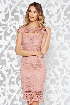 Elegant rosa pencil dress cut-out bust design