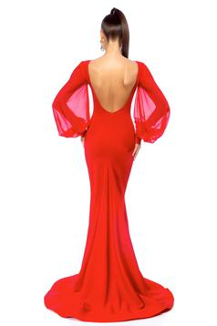 Occasional Ana Radu red dress with veil sleeves