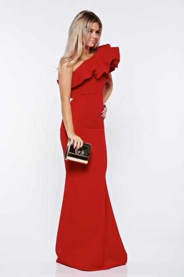Ana Radu red occasional pencil dress with ruffles on the chest