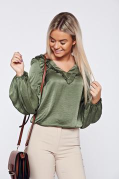 LaDonna darkgreen elegant women`s blouse with satin fabric texture with v-neckline