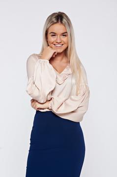 LaDonna cream elegant women`s blouse with satin fabric texture with v-neckline