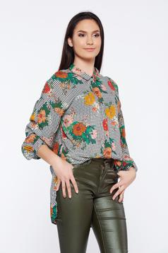 Top Secret white casual asymmetrical women`s shirt with floral print and chequers