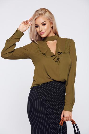 PrettyGirl darkgreen elegant voile fabric women`s blouse with v-neckline