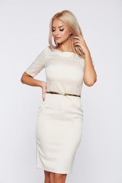 PrettyGirl elegant cream daily dress accessorized with belt