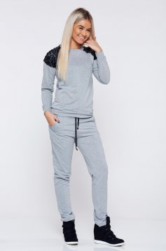 StarShinerS grey casual cotton set with pockets