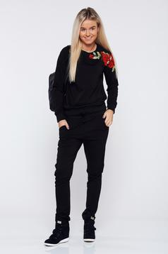 StarShinerS black casual set from 2 pieces with embroidery details