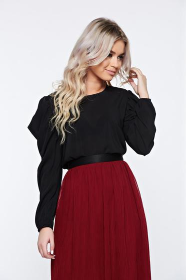 StarShinerS black elegant women`s blouse with butterfly sleeves