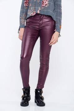 Top Secret purple casual conical trousers with pockets with medium waist