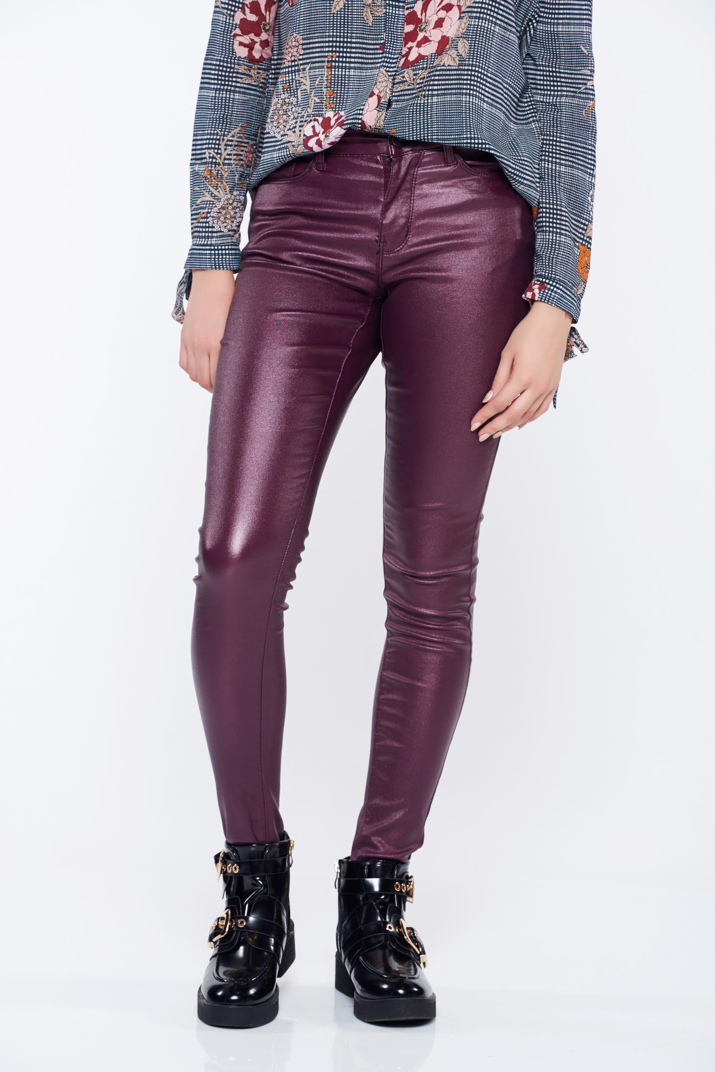 Pantaloni Top Secret mov casual conici cu buzunare cu talie medie