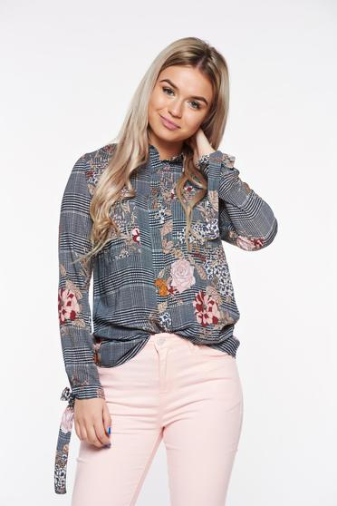 Top Secret black office women`s shirt with floral print and chequers