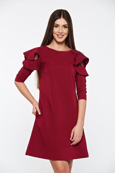 LaDonna easy cut burgundy elegant dress with ruffled sleeves