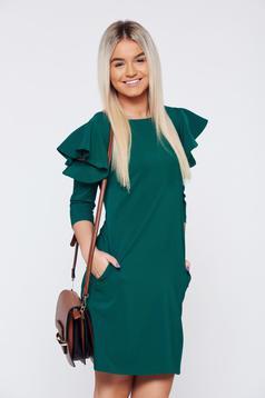LaDonna easy cut green elegant dress with ruffled sleeves
