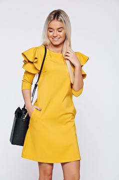 LaDonna easy cut yellow elegant dress with ruffled sleeves