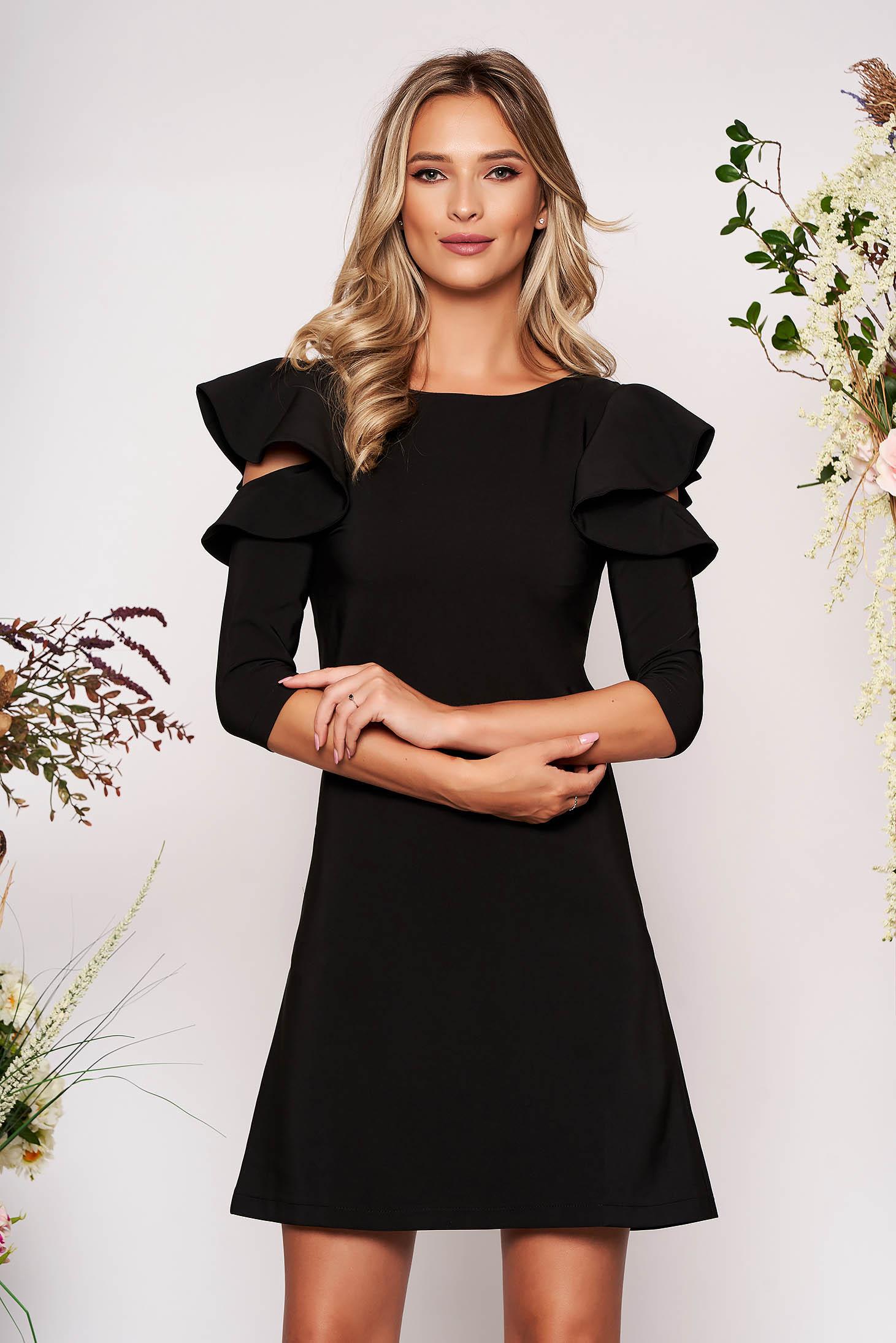 Rochie LaDonna neagra eleganta de zi din stofa usor elastica cu croi in a si volanase la maneca