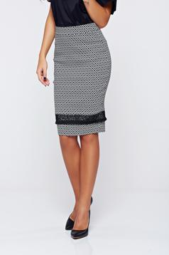 LaDonna office black skirt with graphic details and tented cut
