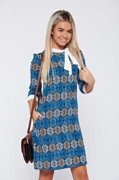 Fofy blue a-line daily dress with print details