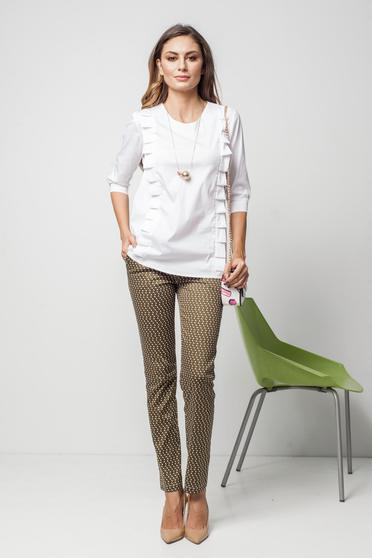 PrettyGirl white office flared women`s shirt with ruffle details