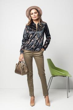 PrettyGirl black casual velvet jacket with floral print
