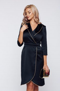 StarShinerS black office elegant wrap around dress with satin fabric texture