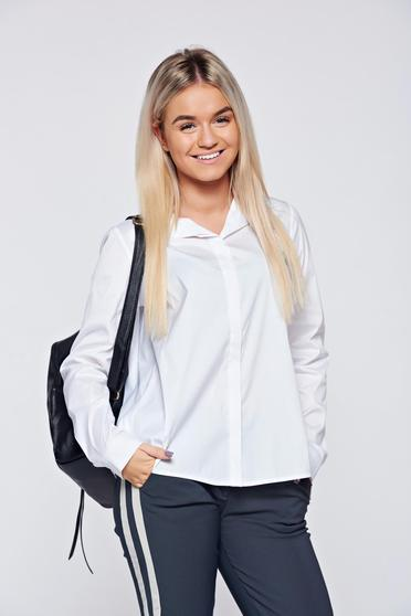 PrettyGirl easy cut white casual women`s shirt with asymmetrical cut