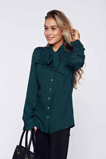 PrettyGirl darkgreen elegant women`s shirt with ruffled sleeves
