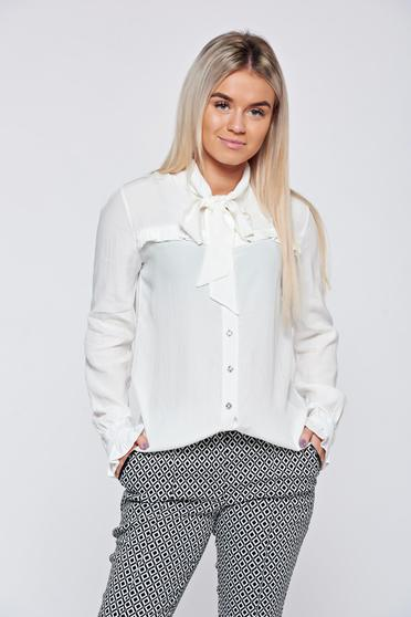 PrettyGirl white elegant women`s shirt with ruffled sleeves