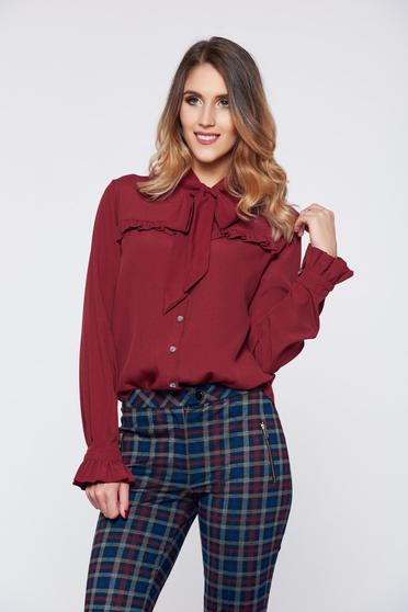 PrettyGirl burgundy elegant women`s shirt with ruffled sleeves