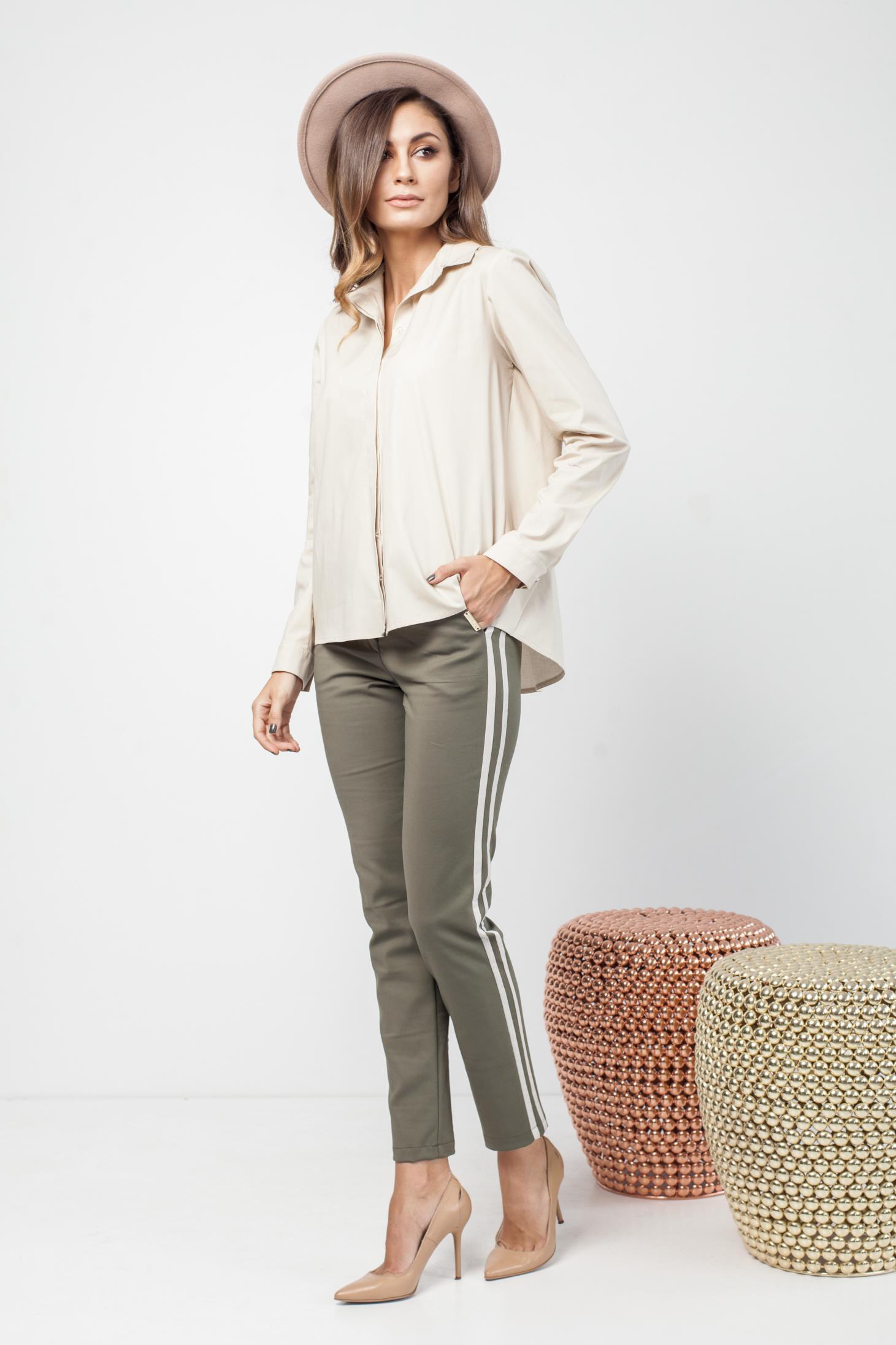 Pantaloni PrettyGirl khaki casual conici cu dungi verticale