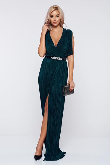 Artista occasional darkgreen wrap around dress with a cleavage