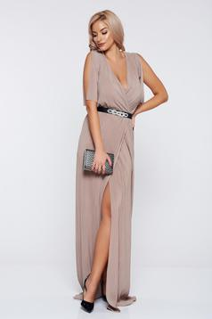 Artista occasional cream wrap around dress with a cleavage
