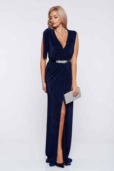 Artista occasional darkblue wrap around dress with a cleavage
