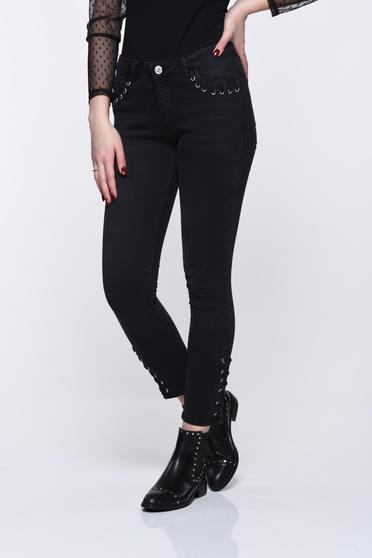Top Secret black jeans elastic cotton skinny jeans with medium waist