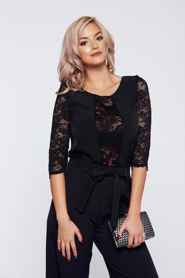 StarShinerS black women`s blouse elegant laced 3/4 sleeve