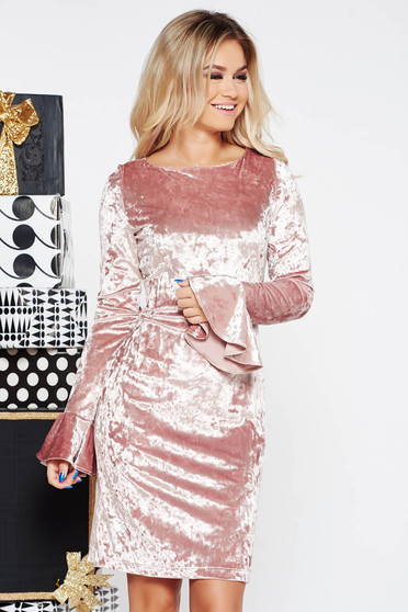 StarShinerS rosa occasional velvet dress with ruffled sleeves