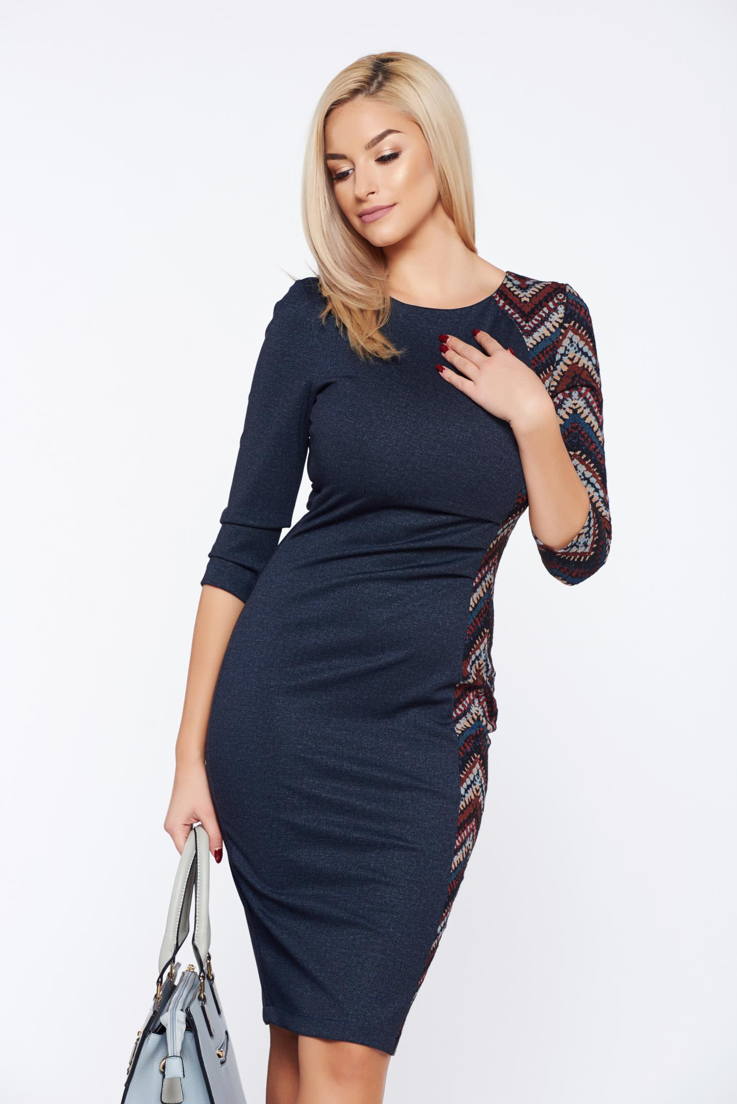 Rochie StarShinerS Fall in Love albastra-inchis office tip creion din denim