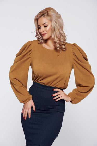 StarShinerS FALL in love yellow elegant knitted sweater wrinkled sleeves