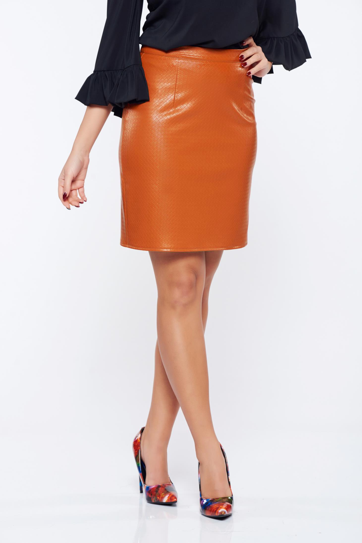 Fusta StarShinerS portocalie casual din piele ecologica cu talie medie