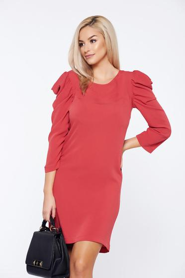 StarShinerS FALL in love coral daily dress with wrinkled sleeves