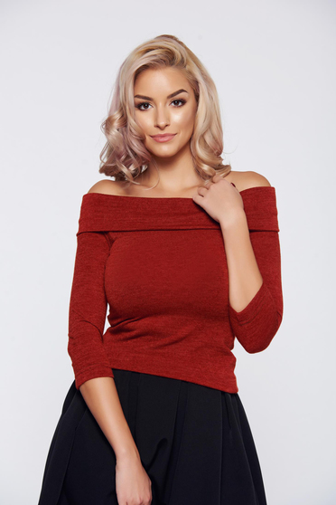 StarShinerS FALL in love elegant knitted on the shoulders orange sweater