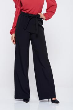 StarShinerS black office elegant trousers accessorized with tied waistband